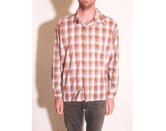 Vintage 1970s Mens Plaid Montgomery Ward Western Long Sleeve Pocketed Shirt size XL