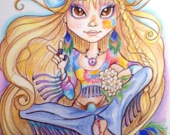 Hippie Chick Big Eye Fantasy Art Print 8.5 x 11