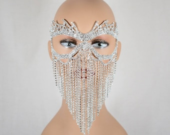 Clear Rhinestone Metal Masquerade Mask, wedding mask, Mardi Gras Mask, Jeweled Bridal Mask, Queen Mask,new year party mask