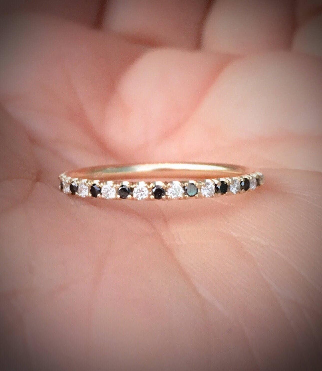 Black and White Diamond Ring Pave Diamond Alternating Half