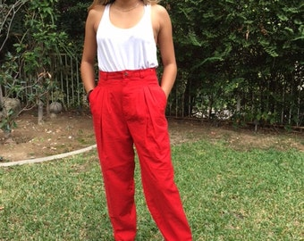 High waisted pants, red pants ,size 12,high waisted, pleat front,pants,12