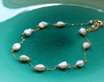 Keshi Keishi Pearl Necklace 14k Gold Filled, Tin Cup, Adjustable, June Birthstone, Bridal Wedding