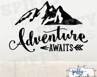Adventure Awaits Wall Decal Vinyl Sticker Quote Travel With Arrow Mountains