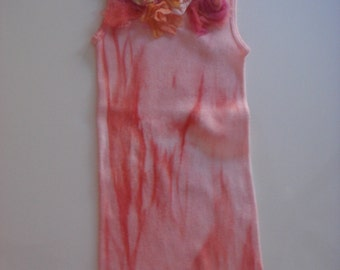 pink & coral  tones on this hand dyed and silk floral embellished tee