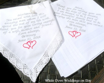 Embroidered Wedding Handkerchief GROOMS PARENTS Set of 2 Mother & Father In law Gift by With Dove Weddings