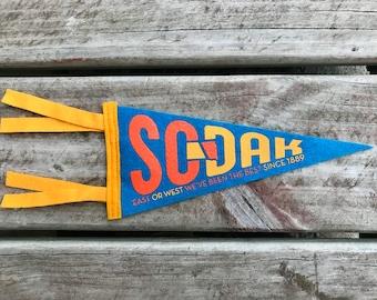 SoDak Pennant - South Dakota Pennant by Oh Geez! Design - South Dakota Retro Souvenir Pennant Flag - South Dakota Gift - Wool Felt Pennant