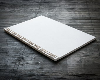 Large White Softcover Handmade Notebook with Cover Flap, Stitched Binding with Hemp Cord, Lined Recycled Paper, Travel Notebook, Journal