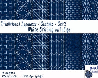"Japanese Sashiko-style in Indigo Set 2, Digital Paper, 12'x12"", 300 dpi JPG, Printable, Instant Download"