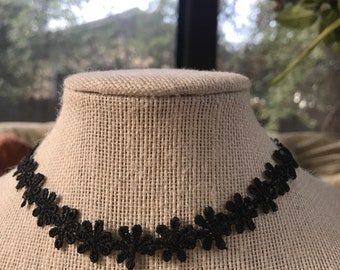 Black Fabric Floral Choker Necklace
