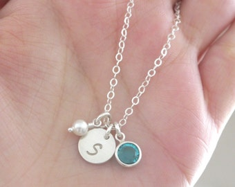 Sterling Silver Initial Necklace, Tiny Initial Pearl Birthstone Necklace, Letter S, December Birthstone, Custom, Personalized, Minimalist