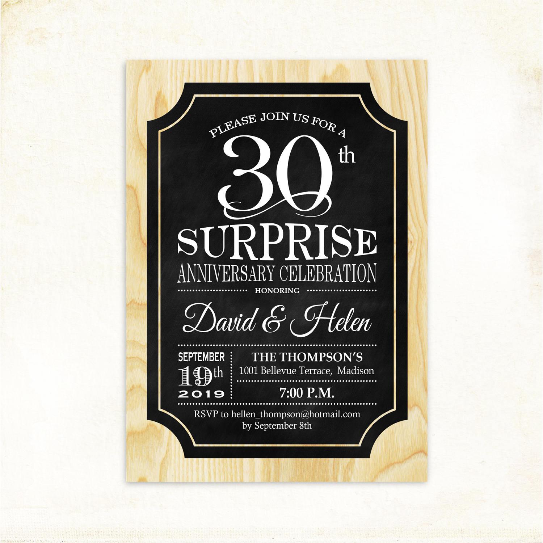 surprise 30th anniversary invitations