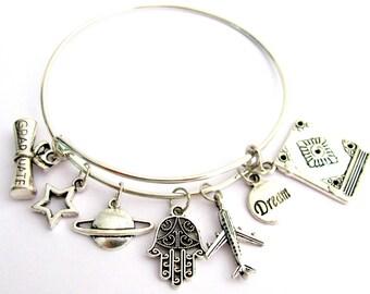 Custom Graduation Jewelry, Graduation Charm Bracelet, Personalized Graduation Gift, Birthstone Bracelet Free Shipping In USA