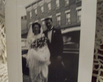 Vintage Photograph Bride and Groom / Bridal Gown & Tuxedo Picture/ Vintage 40's/ Black and White Photo