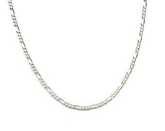 18 inch Figaro Chain 2mm with Lobster Clasp, Sterling Silver
