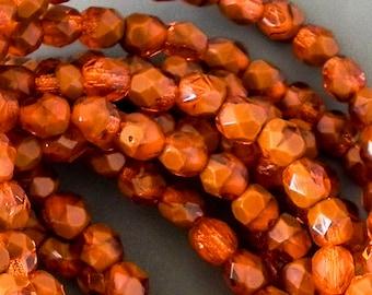 6mm Orange Brick Faceted Round Bead - Czech Glass Brick Orange Firepolished Round Beads - 30 beads - 1630