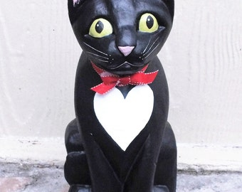 Tuxedo Cat Figurine -  Folk Art Cat with Heart Shaped Tux - Valentine Cat Figurine
