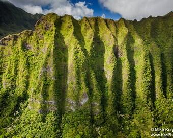 Koolau Mountains in Kaneohe, Oahu, Hawaii photo picture fine art metal print