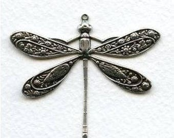 Vintage Victorian Dragonfly Pendant, Focal - Necklace Focal - Antique Silver - Ornate Scrolled Filigree - 50x45mm - 01 Each
