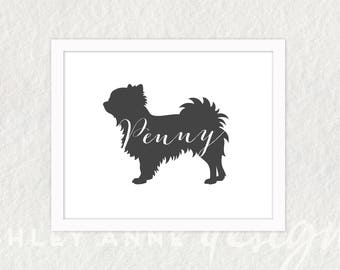 Long Haired Chihuahua Silhouette Personalized Print | Pick Your Color | Other Dog Breeds Available