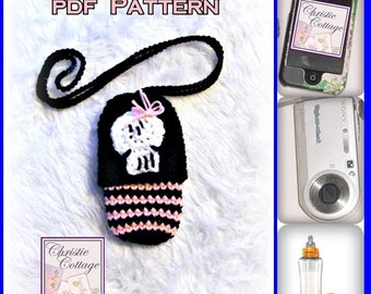 Skull Cell Phone Pouch, (Camera, Bottle, case, cozie, holder) Crochet Pattern, PDF 009 Not a finished product.