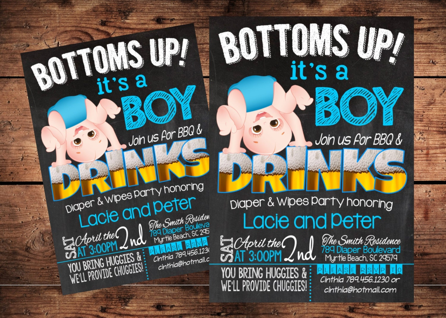Bottoms Up Baby Shower Invitation Funny Diaper Shower