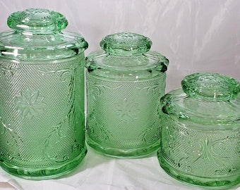 VINTAGE TIARA Indiana Sandwich Glass Canister Set CHANTILLY Green