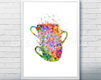 Coffee Cups Stacked Watercolor Art Print  - Cups Watercolor Art Painting - Cups Poster - Kitchen Decor - Home Decor - House Warming Gift