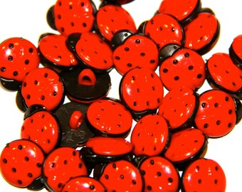 LOT 5 BUTTONS LADYBUG RED / BLACK