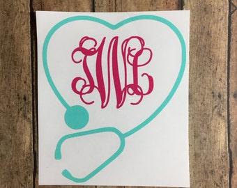 Stethoscope monogram / decal / nurse / rn / lpn / nursing school / monogram / stethoscope / heart