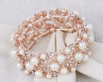 Crystal Bridal Bracelet, Pearl Wedding Bracelet, Rose Gold Bridal Bracelet, Pearl Bridal Bracelet, Rose Gold Bracelet, Wedding Jewelry Bride