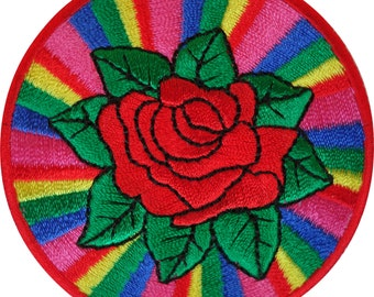 Embroidered Iron On Rainbow Rose Patch Sew On Badge Clothing Embroidery Applique