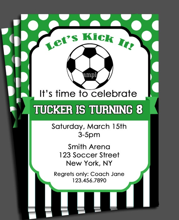 Soccer Invitation Printable Or Printed With FREE SHIPPING