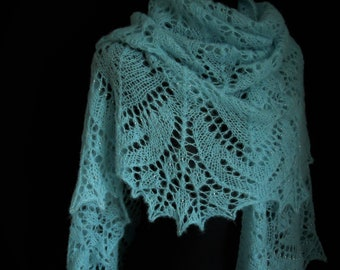Hand Knitted Lace Alpaca and Silk Shawl