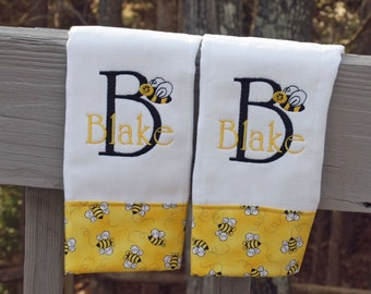 Bumble Bee Custom Monogrammed Personalized Burp Cloth Baby Shower Gift