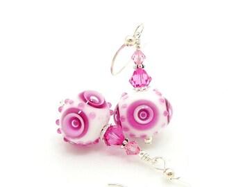 Pink Earrings, Pink White Earrings, Polka Dot Earrings, Lampwork Earrings, Glass Earrings, Glass Bead Earrings, Unique Earrings