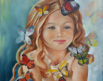 Children's portrait of a girl with butterflies Oil painting on canvas  visual arts Decor Children's laughter Joy Happiness