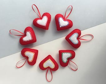 Felt Christmas decorations - Set of 7 padded felt Christmas decorations - Rainbow Christmas decorations -  Red and white hearts