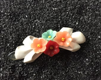 vintage barrette, white with tiny colorful flowers