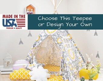 Yellow Purple Teepee, teepee for kids, kids teepee, children teepee, teepee tent, play teepee, tipi, toddler tent, play tent, kids tent