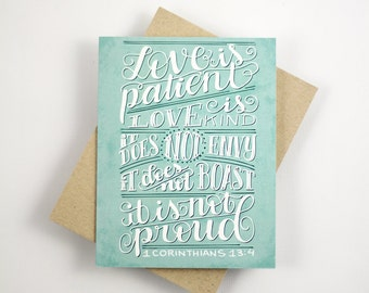 Love is patient  - 1 corinthians 13:4  - one white card with a kraft envelope