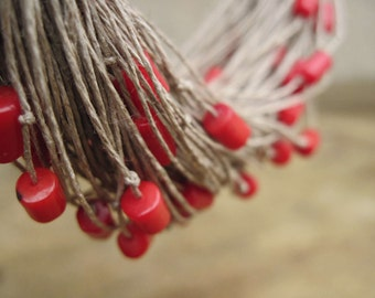 Multi Strand Red Coral Necklace, Linen Necklace Rowan