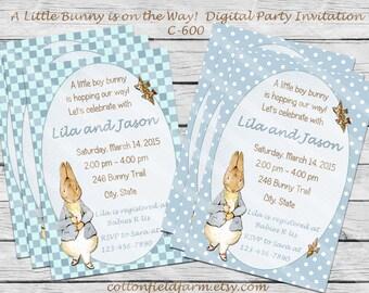Little Peter Rabbit Digital Baby Shower or Birthday Party Invitation, C-600