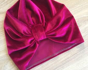 Vintage style velvet turban beanie for baby, girl, women