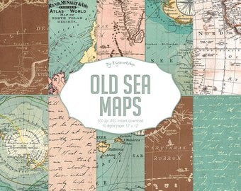 """Vintage maps digital paper """"Old Sea Maps"""" with vintage or antique sea maps, nautical maps, vintage maps backgrounds"""