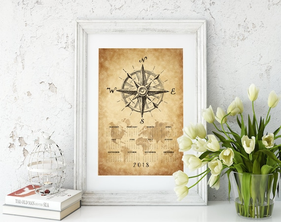 Vintage nautical compass world map 2018 calendar printposter gumiabroncs Gallery