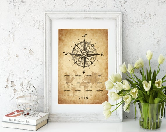 Vintage nautical compass world map 2018 calendar printposter gumiabroncs