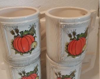 Mug Set Lot of 4  Made In Japan Window Pane Design  Pumpkins Autumn Harvest D Handles Wheat Shocks Corn