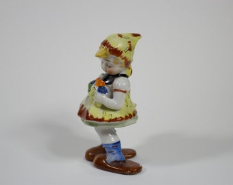 Girl With Flower Basket Figurine Made in Occupied Japan
