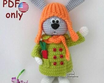 Crochet pattern - Bunny in a coat amigurumi animal (English)