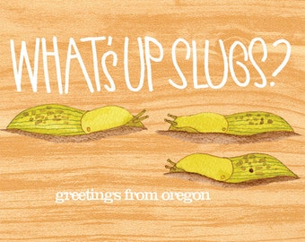 What's Up Slugs postcard